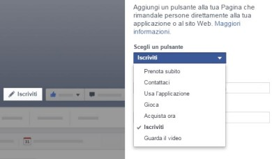 Bottone Call-to-action Facebook