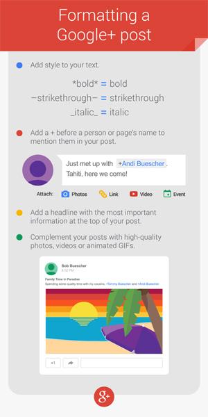 Google+ formattazione post