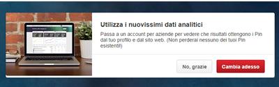Pinterest passaggio a Business account