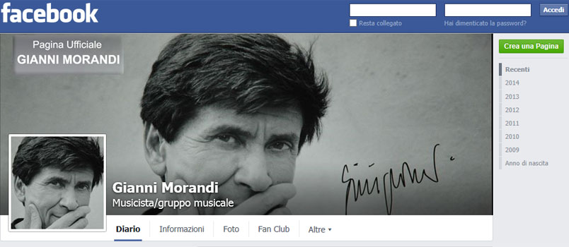 Gianni Morandi e il successo su Facebook