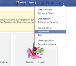 Account Impostazioni Facebook