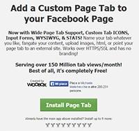 Tab Facebook static frame ok