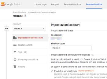 Google Analytics configurazione base-id monitoraggio