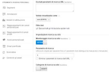 Google Analytics configurazione base motore interno