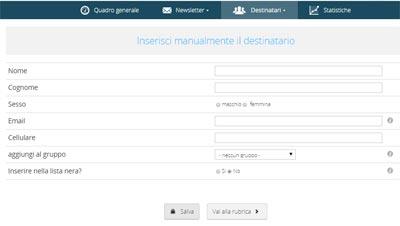 Newsletter2Go - crea lista di contatti