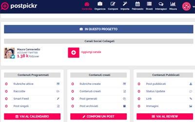 PostPickr programmare sui social-dashboard