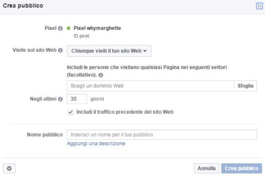 Crea pubblico da Pixel Facebook