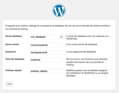 installare wordpress procedura_dati-database