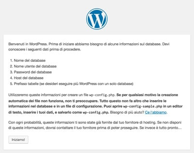 installare wordpress procedura_dati necessari