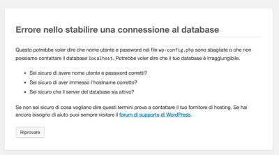 Installare-WordPress-procedura_errore connessione