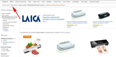 Attività online, ricerca Amazon