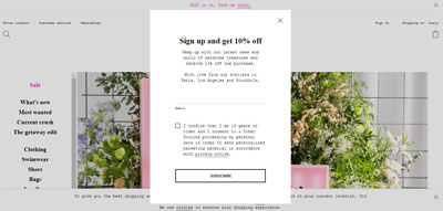 Pop up newsletter -10%
