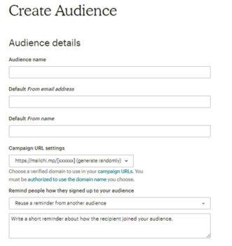 Crea una lista di contatti su MailChimp
